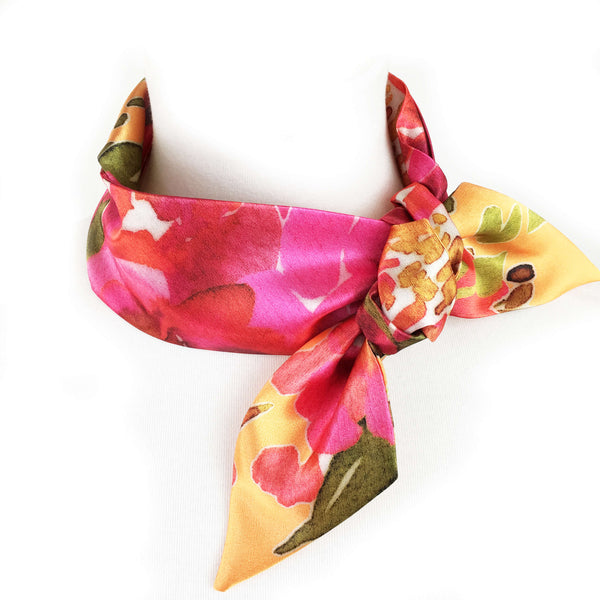 Petals Watercolor skinny scarf on orange - UndertheLeafDesigns.com