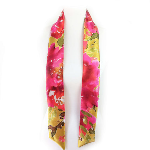 Petals Watercolor skinny scarf on mustard - UndertheLeafDesigns.com