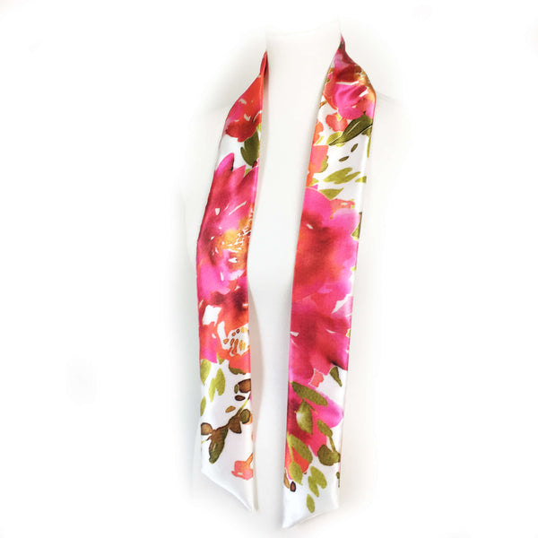 Petals Watercolor skinny scarf on white - UndertheLeafDesigns.com