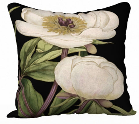 White Peony Series Print A - 18x18 inch Velvet Pillow Cover - UndertheLeafDesigns.com