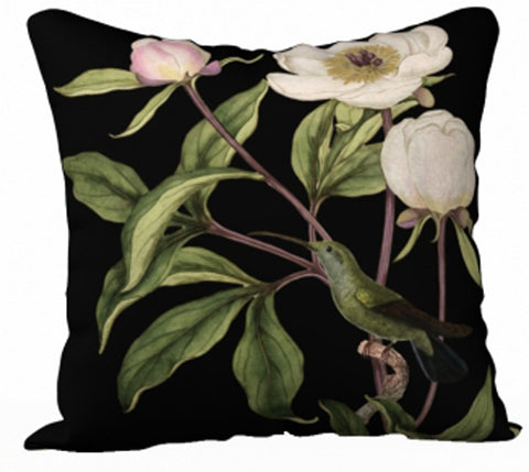 White Peony Series Print C - 18x18 inch Velvet Pillow Cover - UndertheLeafDesigns.com