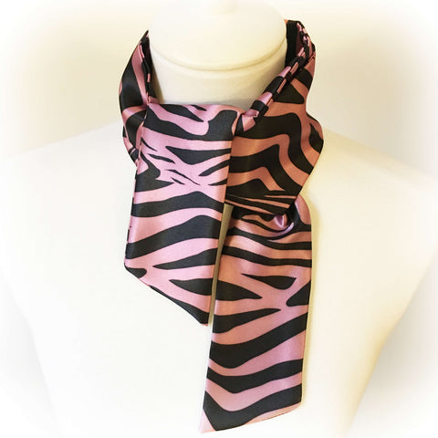 Rose Pink Zebra Skinny Scarf - UndertheLeafDesigns.com