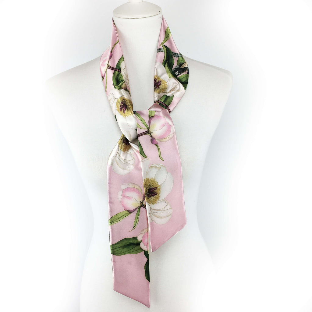 White peonies and hummingbirds Skinny Scarf on pink - UndertheLeafDesigns.com