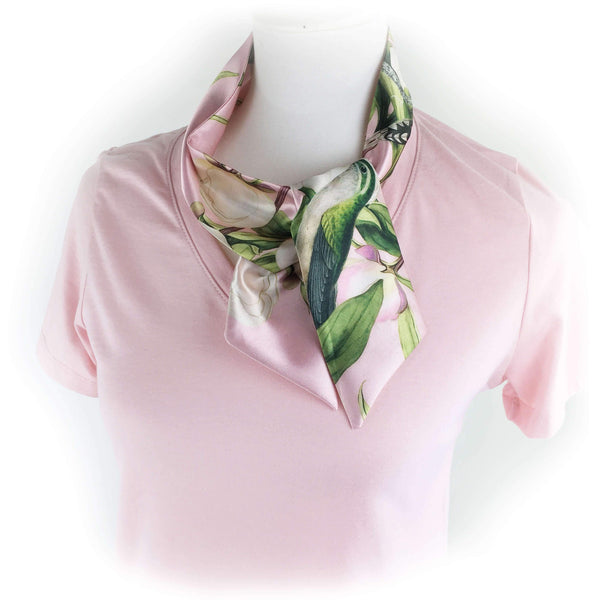 White peonies and hummingbirds Short Skinny Scarf on pink - UndertheLeafDesigns.com