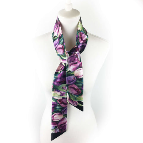Purple watercolor tulip skinny scarf on black - UndertheLeafDesigns.com