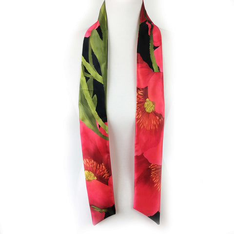 Red Poppy skinny scarf - UndertheLeafDesigns.com