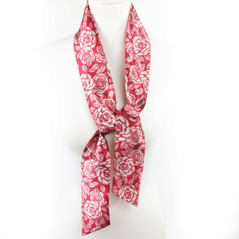 Woodblock Floral Red Skinny Scarf - UndertheLeafDesigns.com