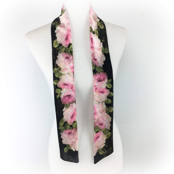 Pink Roses in Oil hand painted artisan scarf - modern size