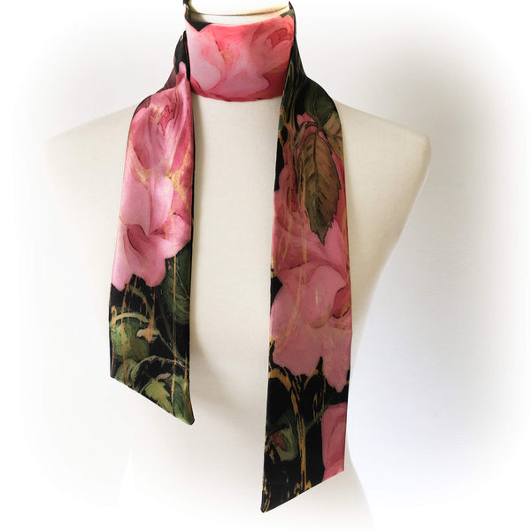 Scroll Rose Skinny Scarf - UndertheLeafDesigns.com