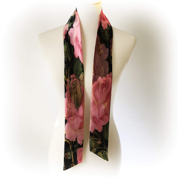 HandPainted Pink Rose Scroll - Artisan Scarf