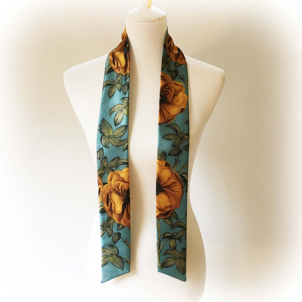 Vintage Yellow Rose skinny scarf - turquoise - UndertheLeafDesigns.com