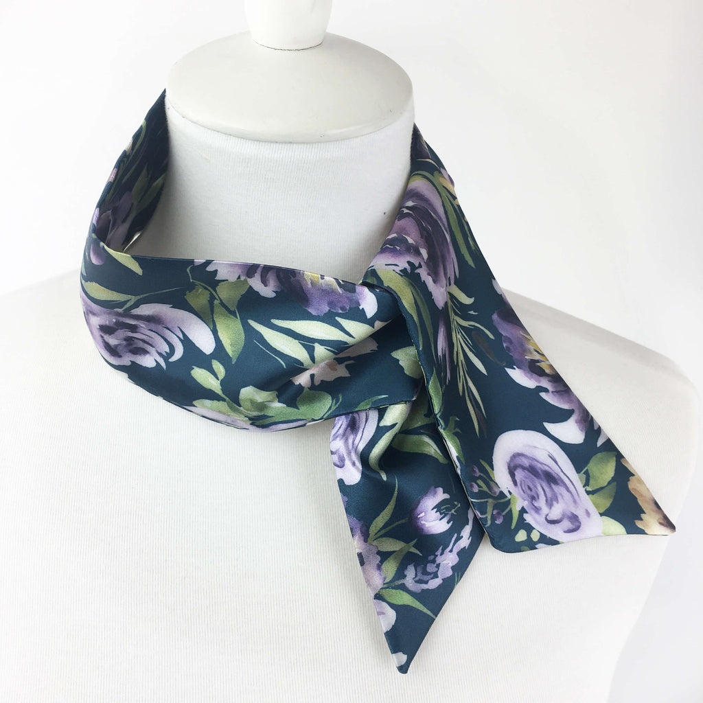 Navy Watercolor Short Skinny Scarf - UndertheLeafDesigns.com