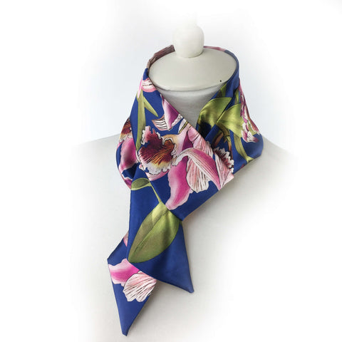 Orchids Skinny Scarf Blue Lapis - UndertheLeafDesigns.com