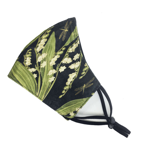 Lily-of-the-Valley -Triple Layer Velvet Satin Modal Knit Lined Face Cover - non-medical mask