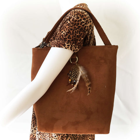 Copper Rust Luxe Vegan Suede Midsize Tote/ShoulderBag with Beads