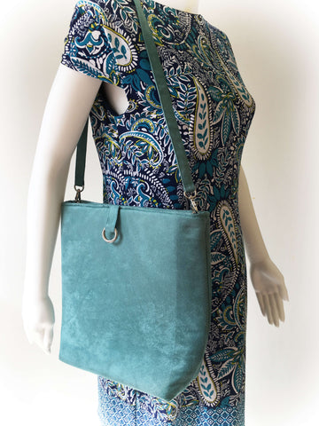 Deep Turquoise Blue Luxe Vegan Suede Midsize Tote/ShoulderBag