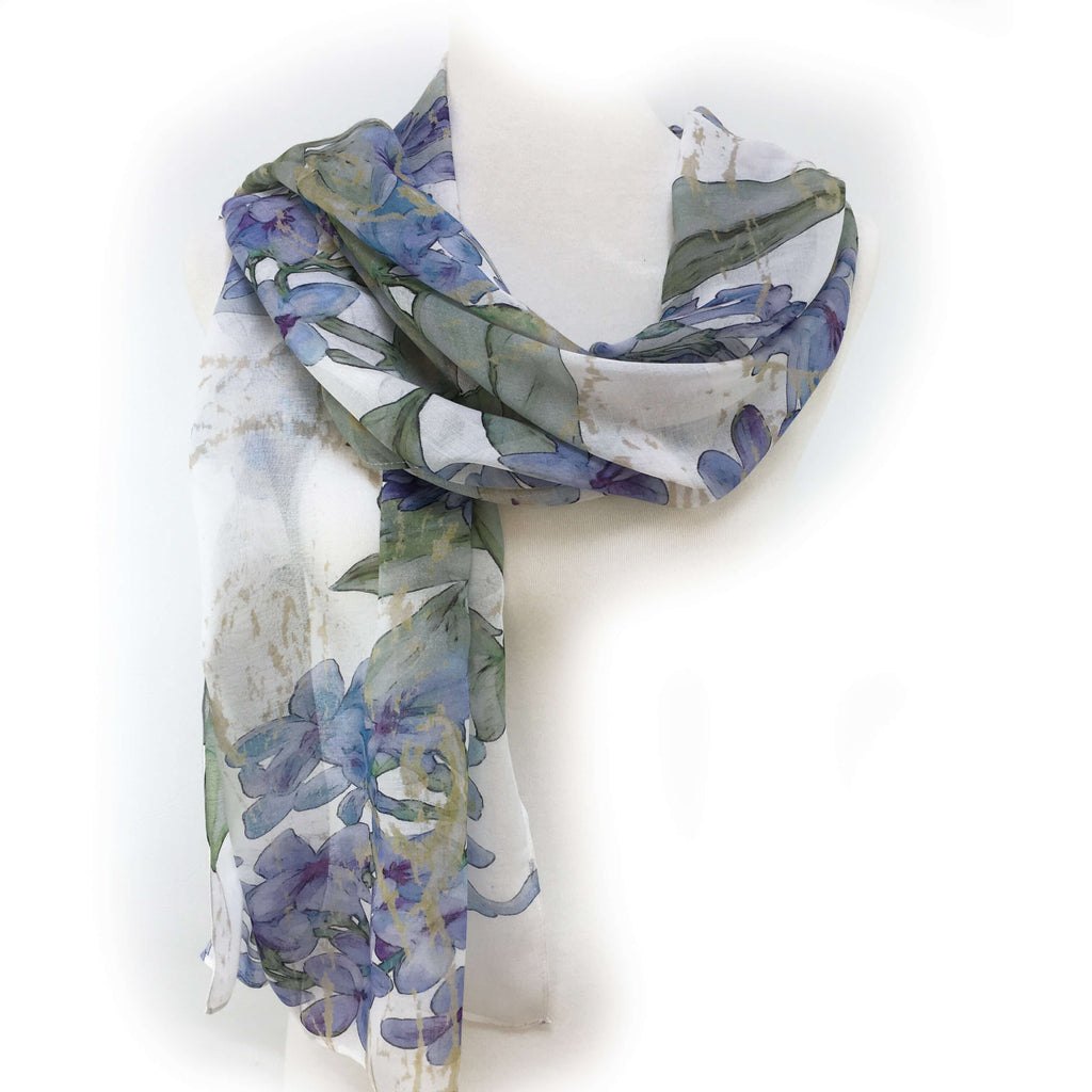 Lilacs on White Scarf - Silk Modal