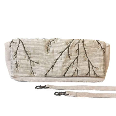 Embroidered Silver Berry and Silver Vegan Suede Clutch/Shoulder Bag