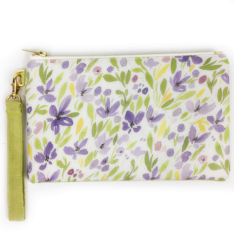 Spring Watercolor Floral wristlet - vegan leather/suede