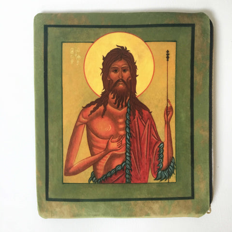 St John the Baptist Icon IPAD Bag in Velvet - UndertheLeafDesigns.com