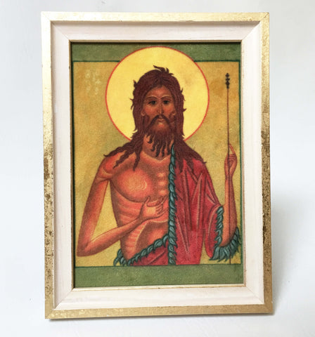 St.John the Baptist Icon in Velvet - UndertheLeafDesigns.com