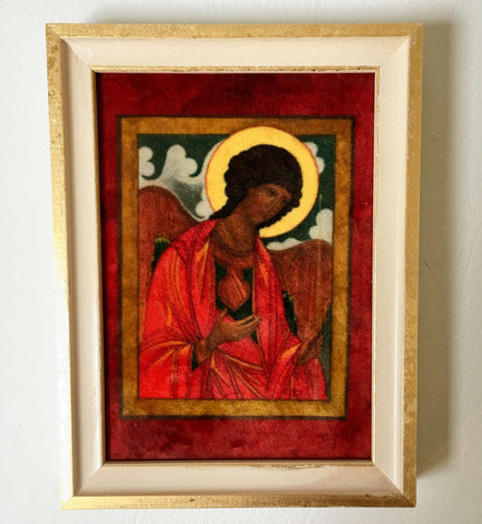 St Michael the Archangel Icon in Velvet