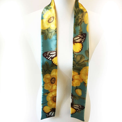 Wild Yellow Rose Skinny Scarf on Turquoise