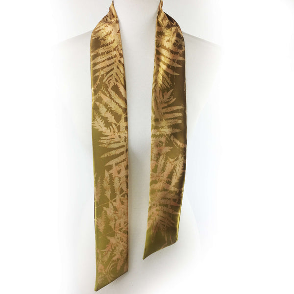 Watercolor Ferns Skinny Scarf Bronze and Green