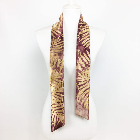 Burgundy Watercolor Fern hand painted artisan scarf - modern size