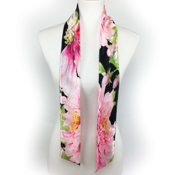 Magenta watercolor peony skinny scarf - UndertheLeafDesigns.com