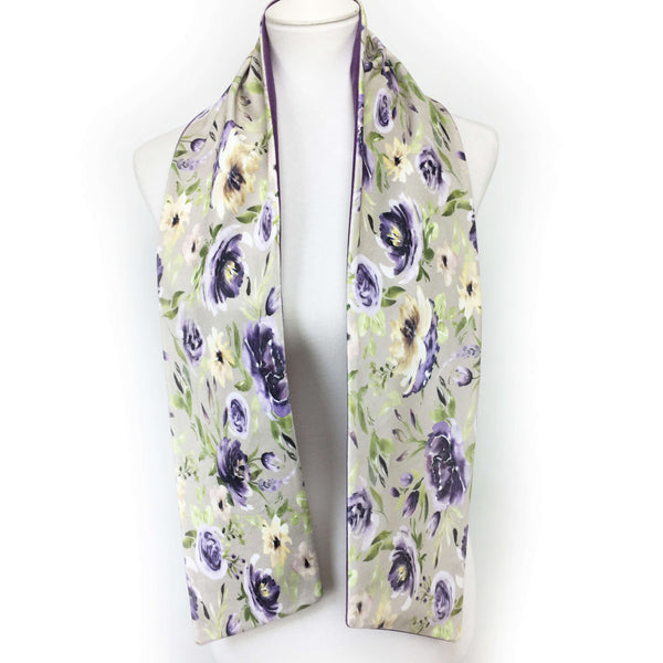 Watercolor purple and lavender floral hand painted velvet scarf - UndertheLeafDesigns.com