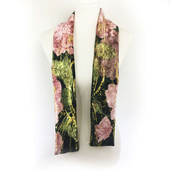Scroll Rose hand painted artisan scarf - Velour