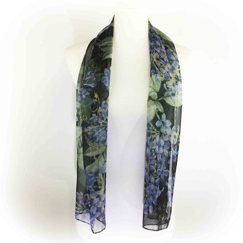 Lilacs on Black Chiffon Scarf