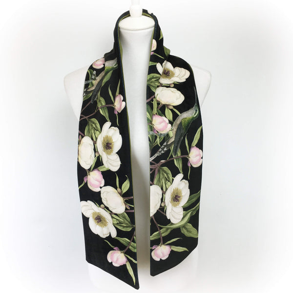 White peony and hummingbird black and olive velvet scarf