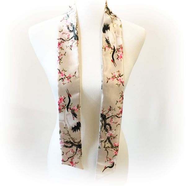 Cranes and apple blossoms skinny scarf - UndertheLeafDesigns.com