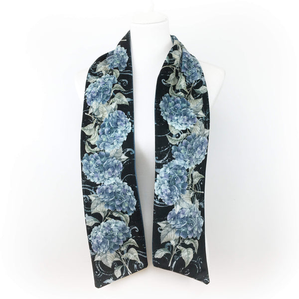 Blue hydrangea hand painted velvet artisan scarf - UndertheLeafDesigns.com