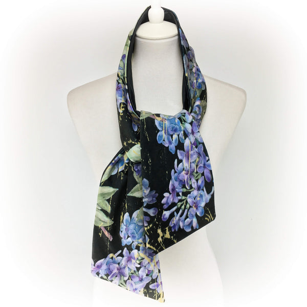 Lilacs on Black hand painted velvet artisan scarf - UndertheLeafDesigns.com