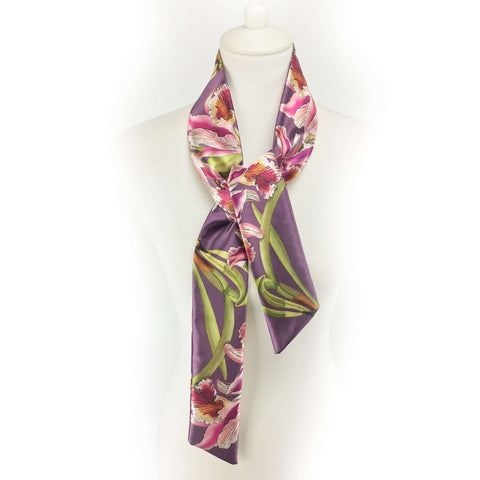 Orchids Skinny Scarf Purple - UndertheLeafDesigns.com