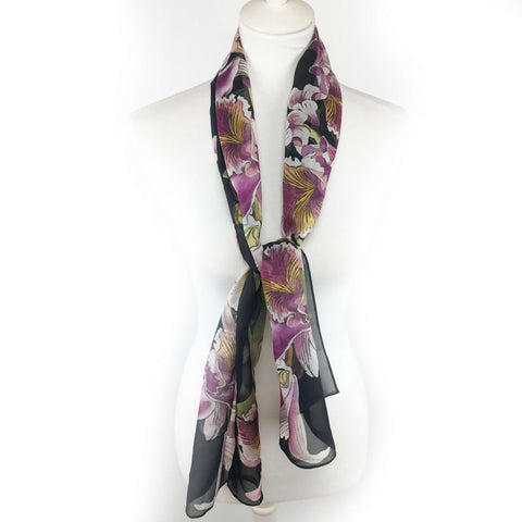Orchids on Black Chiffon Scarf