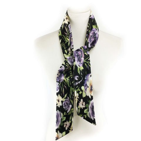 Watercolor mixed floral skinny scarf on black - UndertheLeafDesigns.com