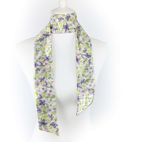 2 Piece Gift Set Vegan Leather Clutch and Scarf - Spring Watercolor Floral - UndertheLeafDesigns.com