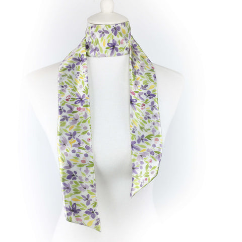 Spring Watercolor Floral Skinny Scarf