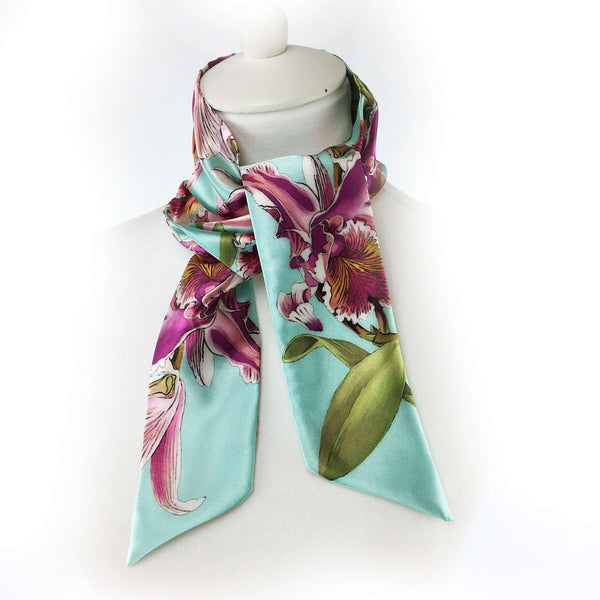 Orchids Skinny Scarf Turquoise - UndertheLeafDesigns.com