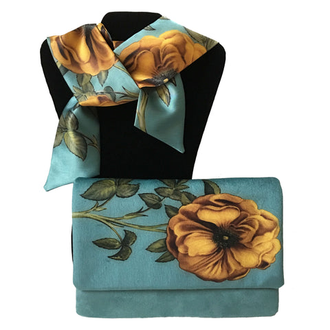 2 Piece Velvet Clutch and Scarf Gift Set - Vintage Yellow Rose on Blue Turquoise - UndertheLeafDesigns.com