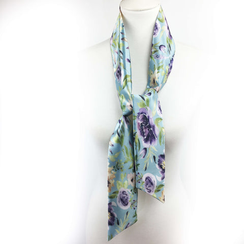 Watercolor Mixed Floral Skinny Scarf on Turquoise - UndertheLeafDesigns.com