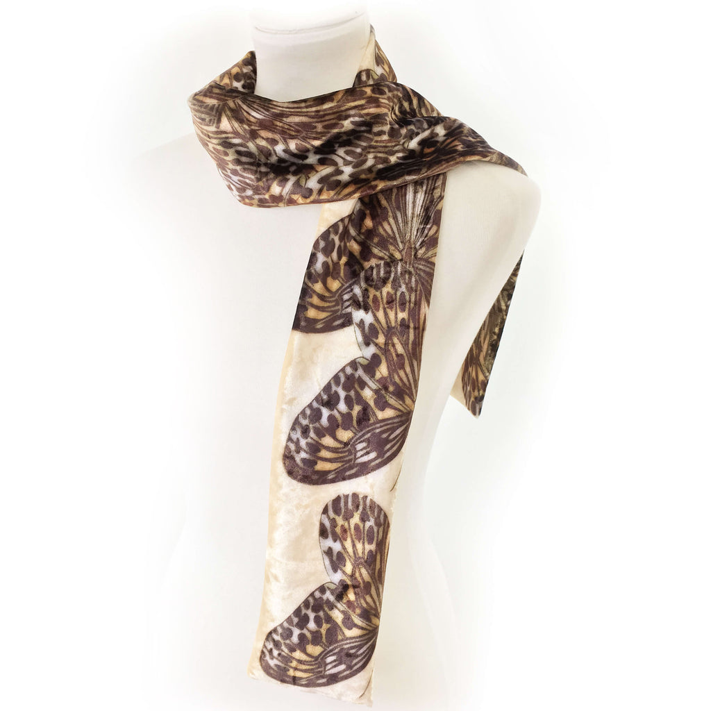 Leopard Butterfly Scarf on Parchment - All season velour - UndertheLeafDesigns.com