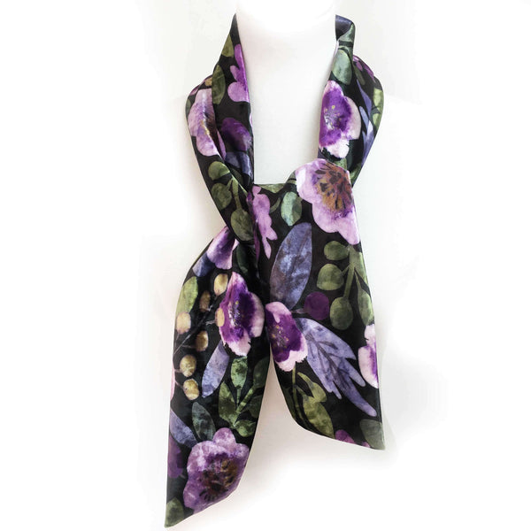 Modern Floral Watercolor Scarf on Black - All season velour - UndertheLeafDesigns.com