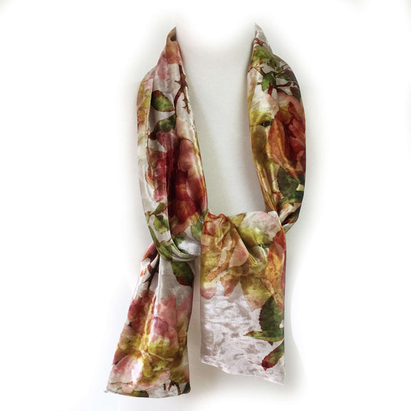 Rustic Rose Scarf on Parchment - All season velour - UndertheLeafDesigns.com