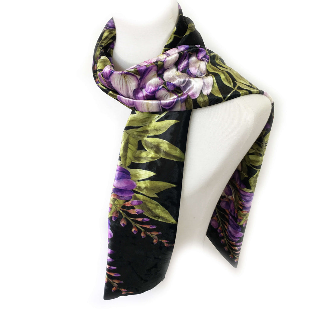Wisteria Scarf on Black - All season velour - UndertheLeafDesigns.com