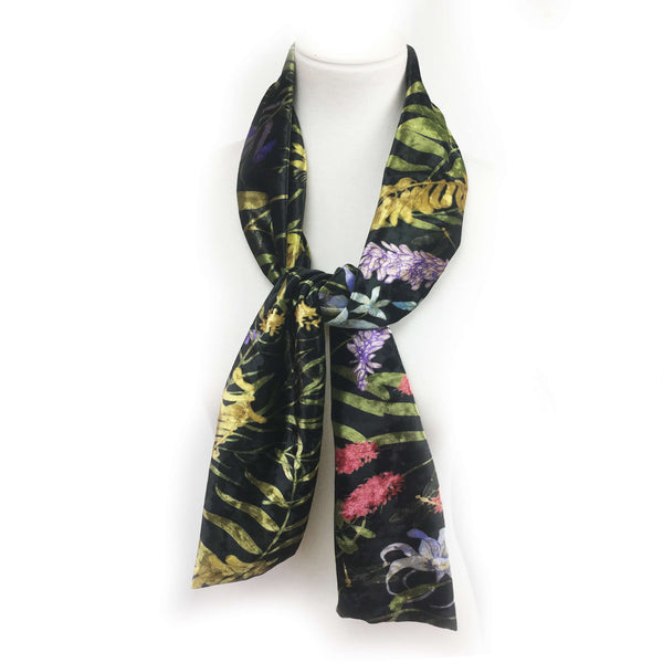Wildflower Garden Scarf on Black - All season velour - UndertheLeafDesigns.com